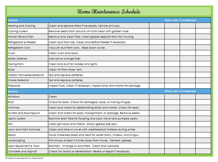 Home Maintenance Checklist Printable 31 Days Of Home Management Binder Printables Day 22 Home