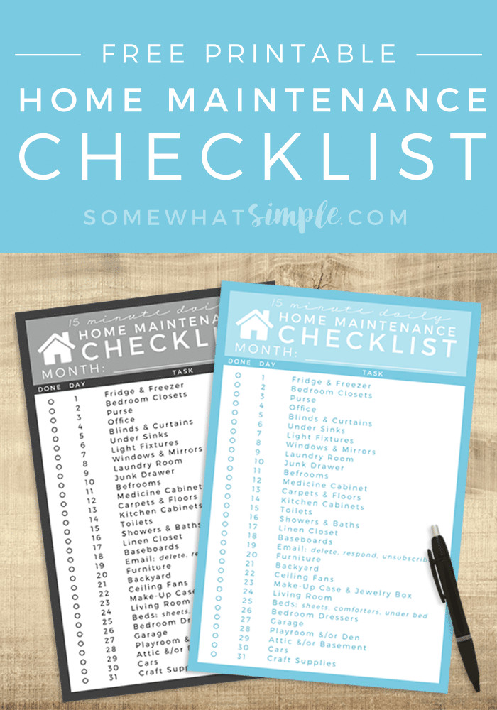 Home Maintenance Checklist Printable Daily Cleaning Schedule Easy Home Maintenance somewhat