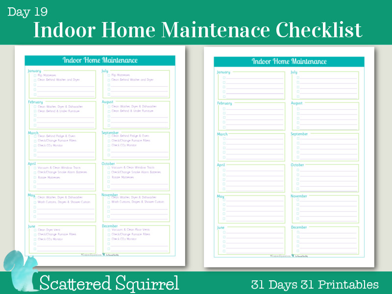 Home Maintenance Checklist Printable Day 19 Indoor Home Maintenance Checklists