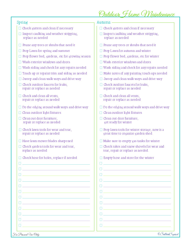 Home Maintenance Checklist Printable Day 20 Outdoor Home Maintenance Checklists Scattered