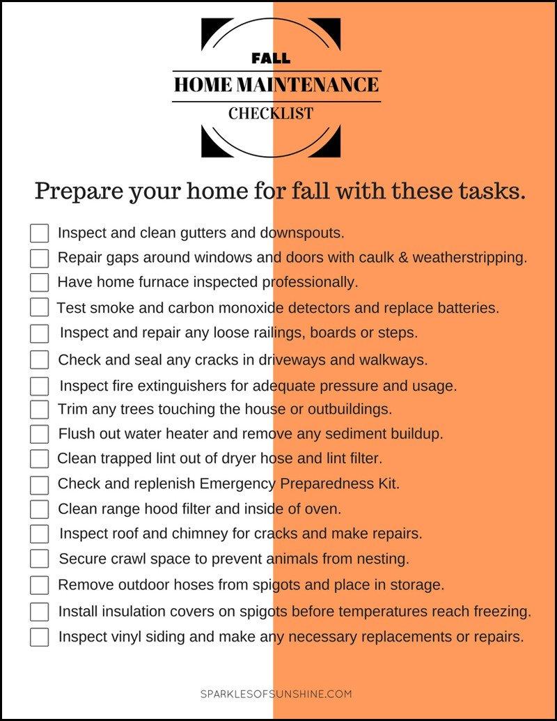 Home Maintenance Checklist Printable Fall Home Maintenance Checklist Sparkles Of Sunshine