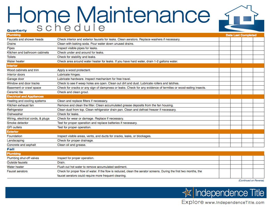 Home Maintenance Checklist Printable Home Maintenance Schedule …