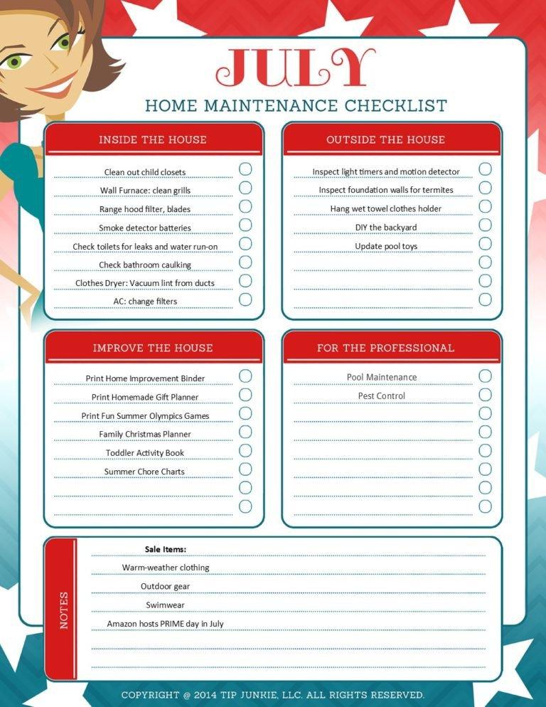 Home Maintenance Checklist Printable July organization and Home Repair Checklist [printable