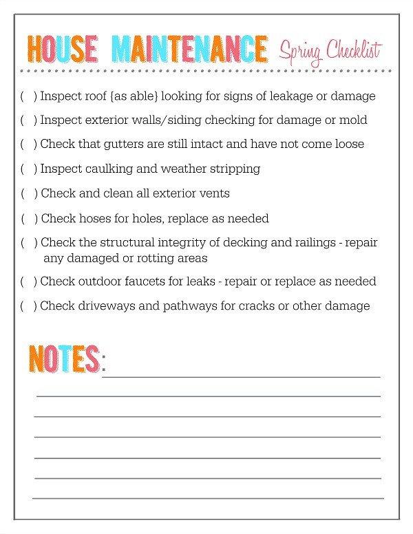 Home Maintenance Checklist Printable Outdoor Home and Garden Maintenance Checklists Clean and