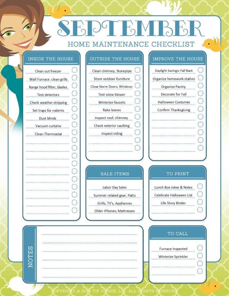 Home Maintenance Checklist Printable September organization and Home Repair Checklist