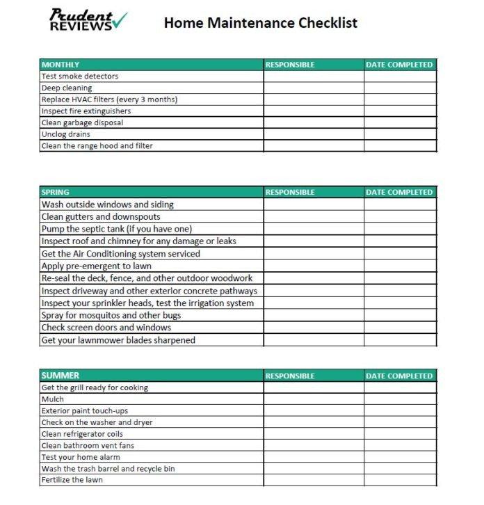 Home Maintenance Checklist Printable the Ultimate Home Maintenance Checklist Printable