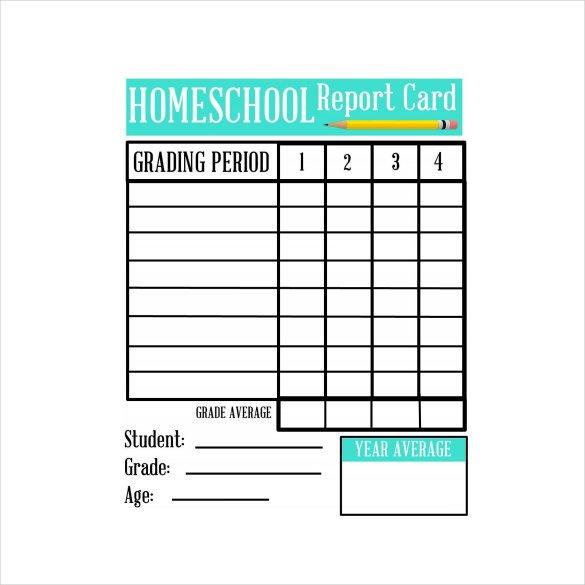 Sample Homeschool Report Card 7 Documents in PDF Word