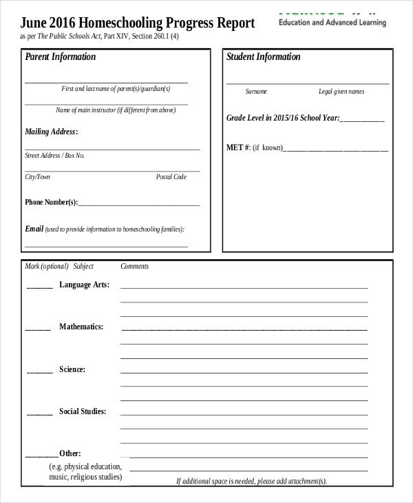 Homeschool Report Card Template Word 11 Report Card Templates Word Docs Pdf Pages