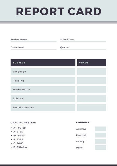 Homeschool Report Card Template Word Customize 34 Homeschool Report Card Templates Online Canva