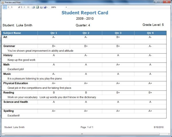 Homeschool Report Card Template Word Homeschool Report Card Template Free