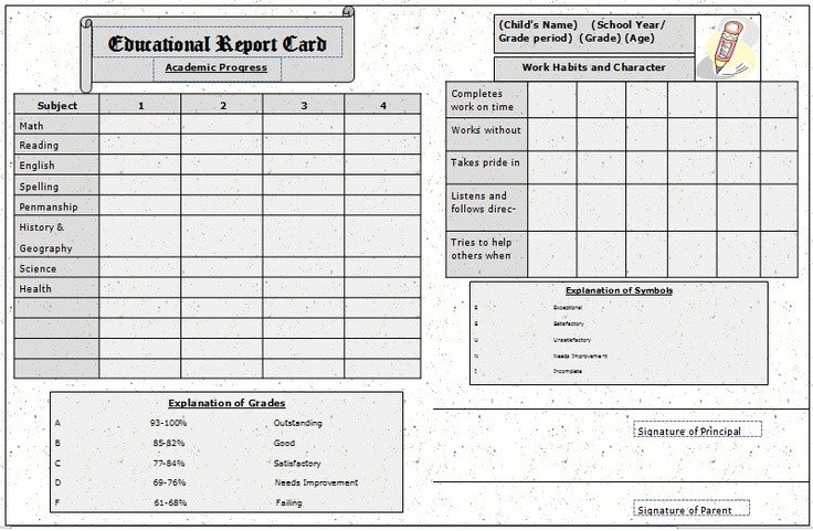 Homeschool Report Card Template Word the Report Card Template Sample Homeschool