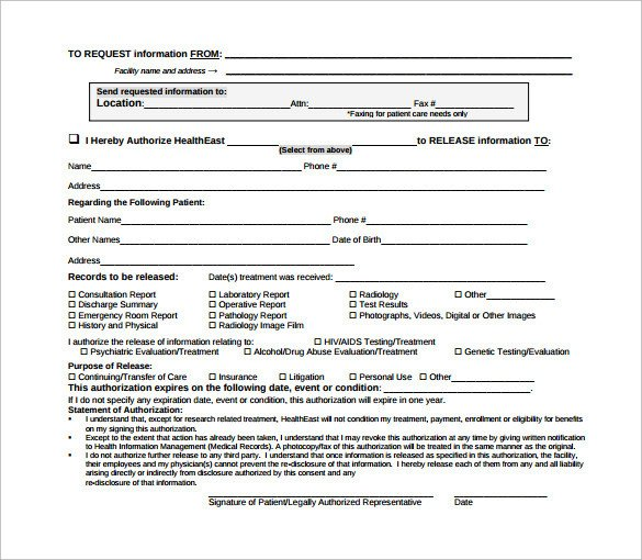 Sample Hospital Release Form 11 Download Free Documents