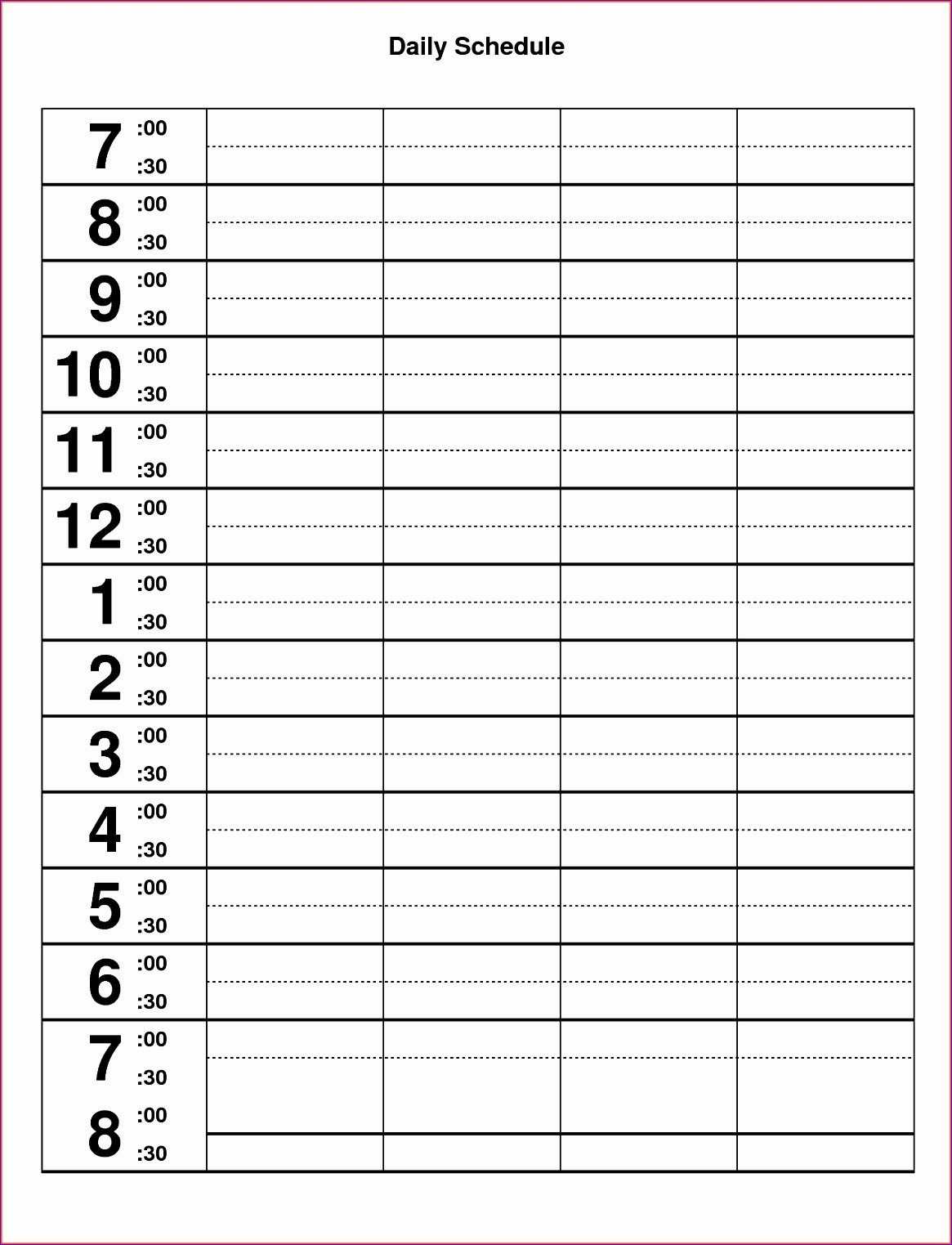 Hourly Schedule Template Excel 10 Excel Hourly Schedule Template Exceltemplates