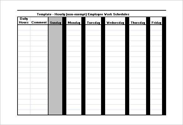 Hourly Schedule Template Excel Employee Work Schedule Template 17 Free Word Excel