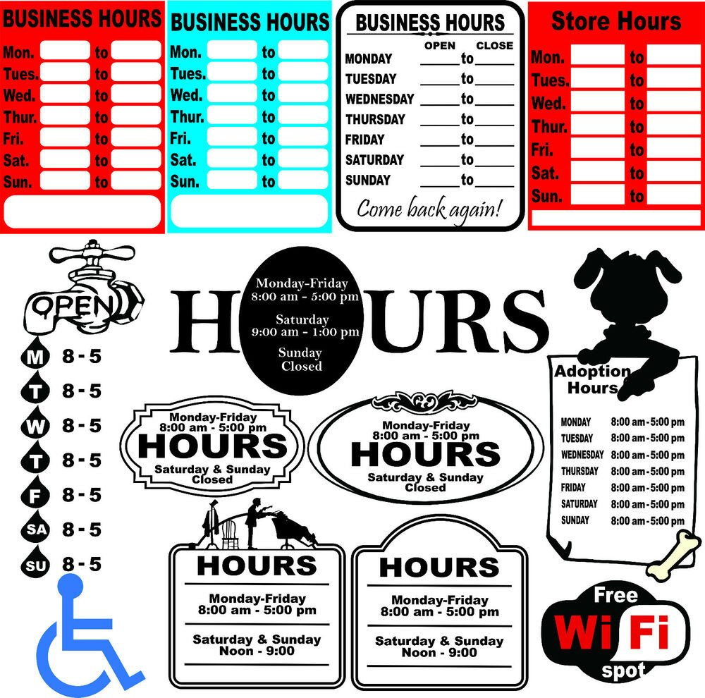 52 Business Hours Sign Templates Vector Clipart for Vinyl
