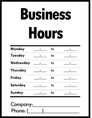 Hours Of Operation Template Business Hours Of Operation Sign Small Business Free forms