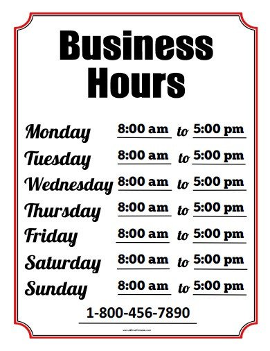 Hours Of Operation Template Business Hours Sign Free Printable Allfreeprintable