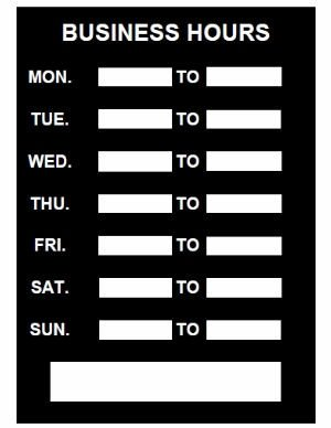 Hours Of Operation Template Business Hours Sign Pdf Template Download