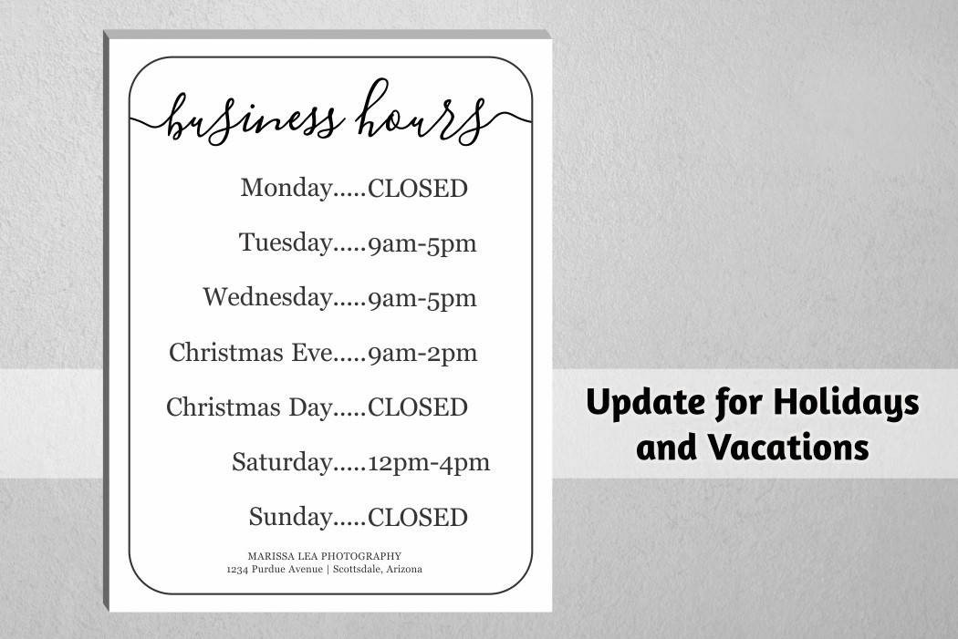 Hours Of Operation Template Business Hours Sign Printable Template Hours Of