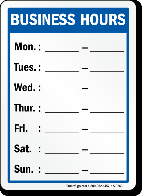 Hours Of Operation Template Business Hours Signs