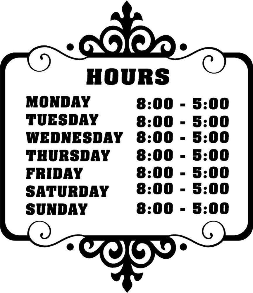 Hours Of Operation Template Custom Store Business Hours Sticker Vinyl Decal Sign