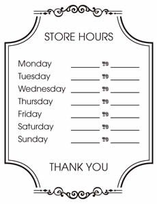 Hours Of Operation Template Free Printable Store Hours Sign