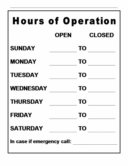 Hours Of Operation Template Hours Operation Template