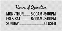 Hours Of Operation Template Store Hours Signs & Templates for Acrylic Signs