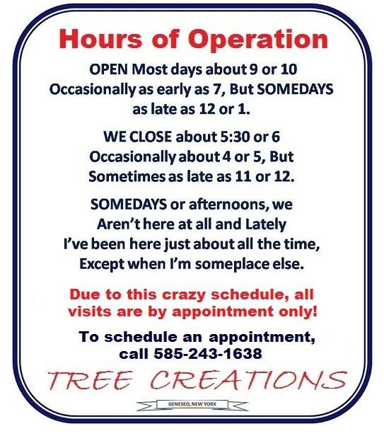 Hours Of Operation Template Tree Creations In Geneseo Hours Of Operation
