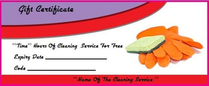 House Cleaning Gift Certificate Template Cleaning T Certificate Template