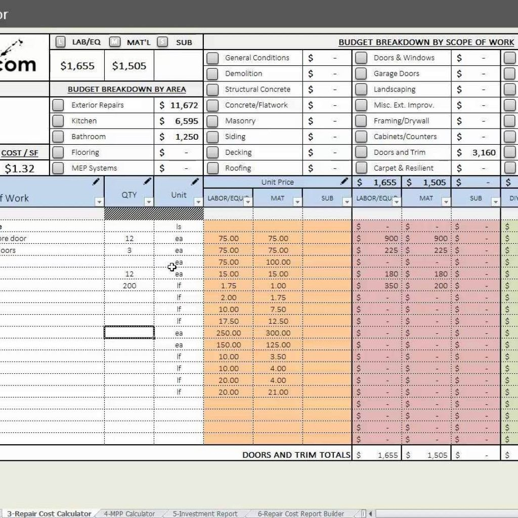 House Flipping Budget Spreadsheet Template House Flipping Cost Spreadsheet Inside House Flipping