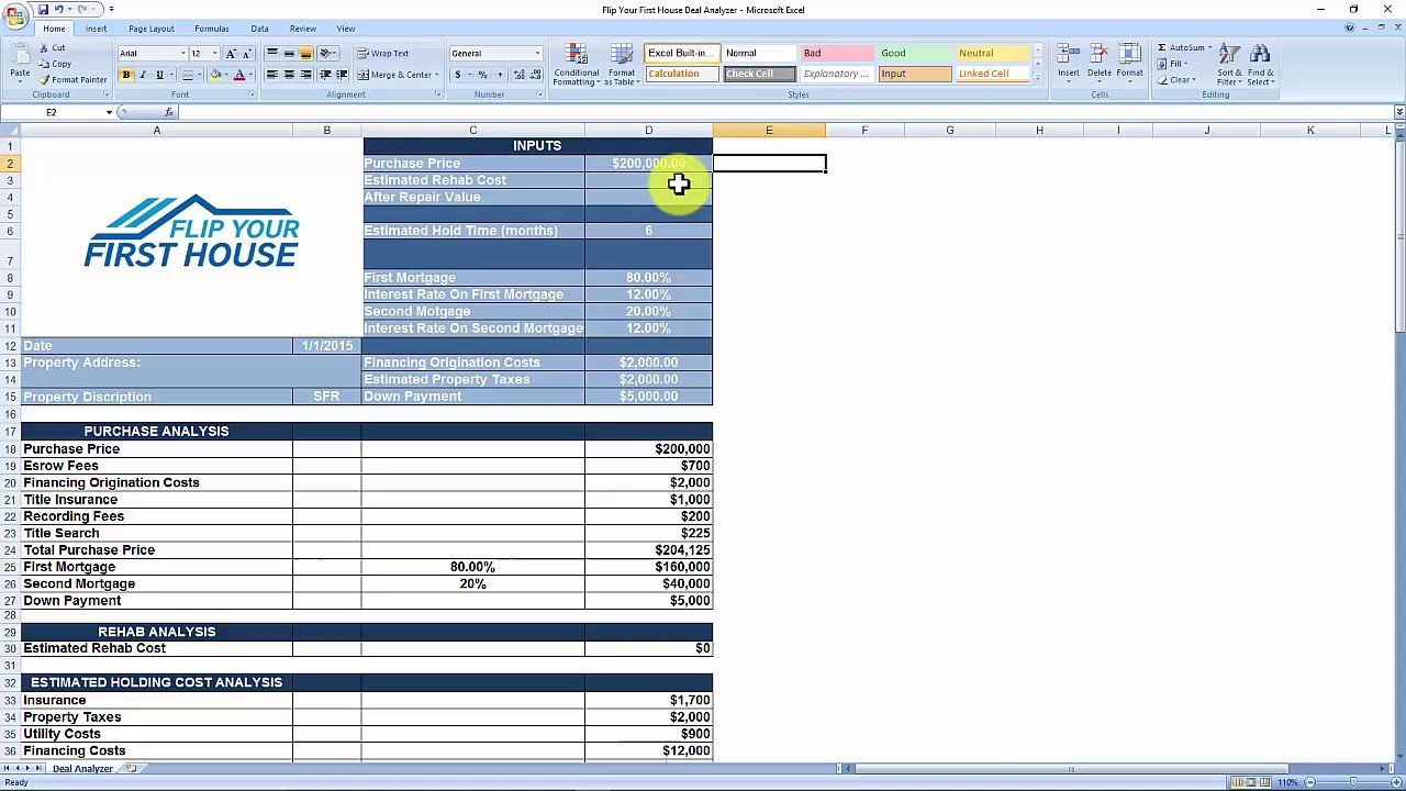 House Flipping Excel Template House Flipping Spreadsheet Free Download