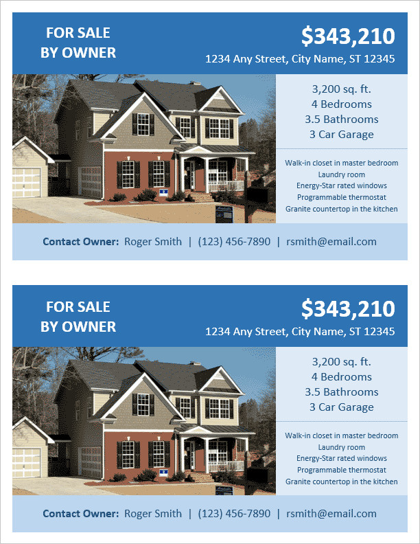 FSBO Flyer Template for Word
