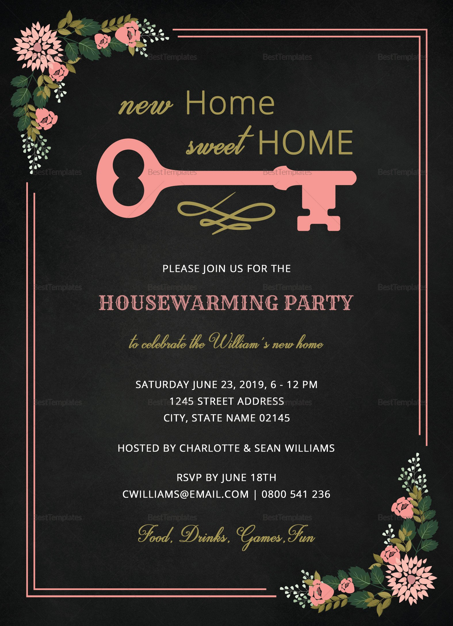Housewarming Invitation Template Microsoft Word Chalkboard Housewarming Invitation Design Template In Word