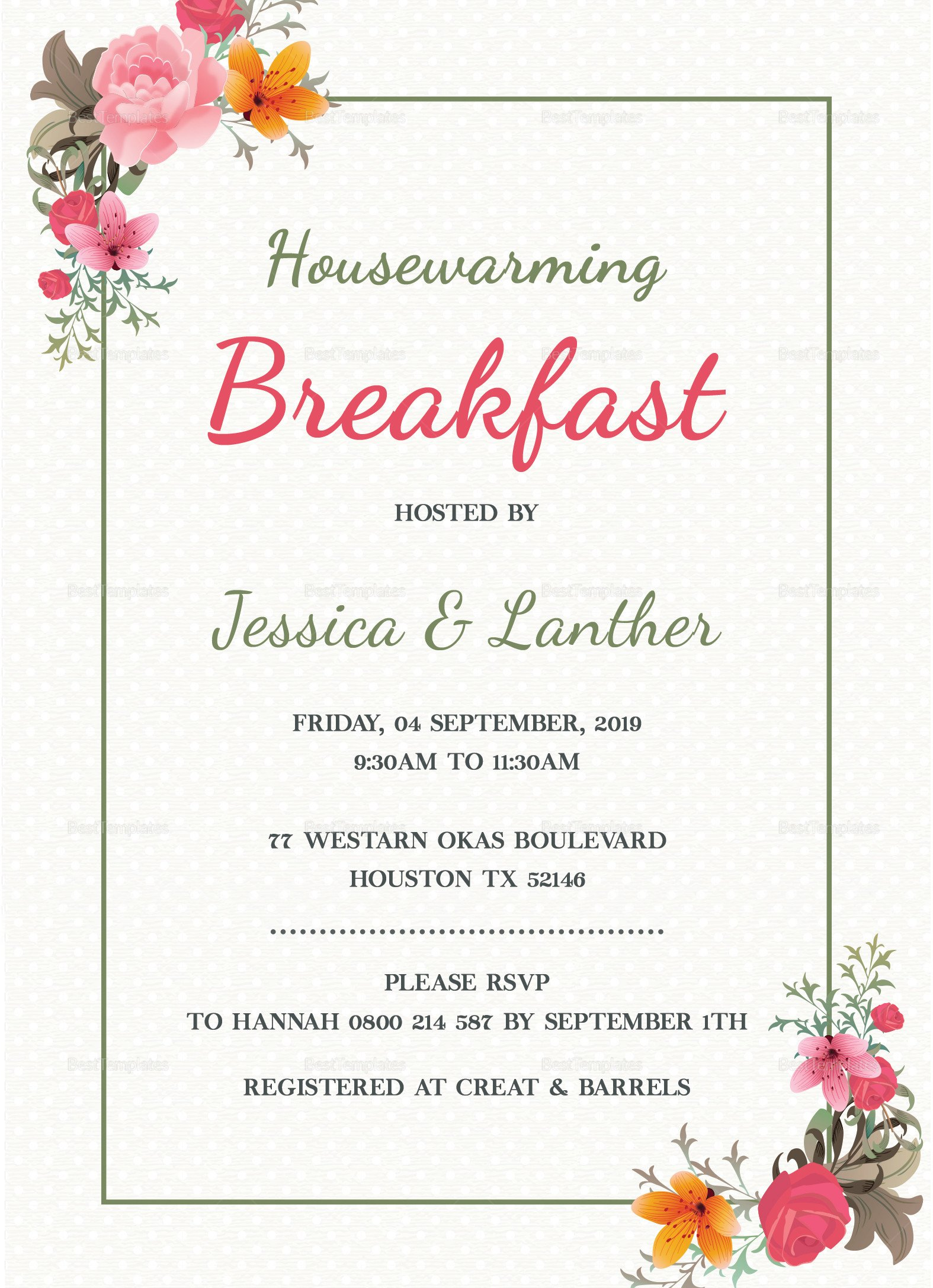 Housewarming Invitation Template Microsoft Word Housewarming Breakfast Party Invitation Design Template In