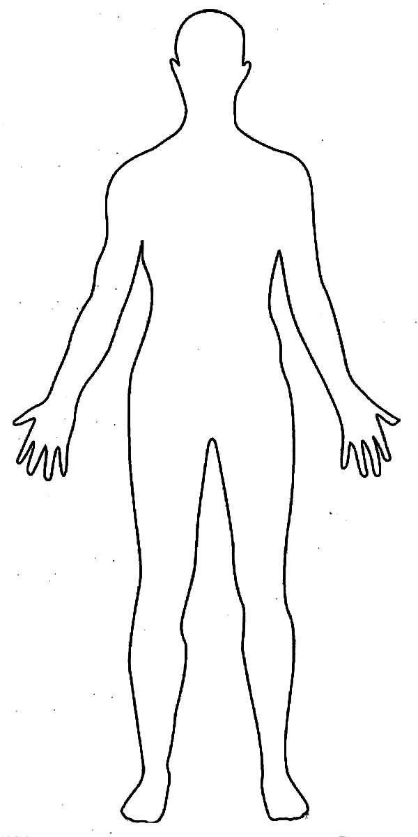 Human Body Outline Drawing Coloring Pages Element