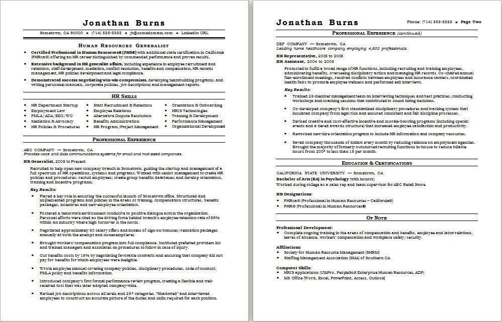 Human Resources Resume Template Hr Generalist Resume Sample