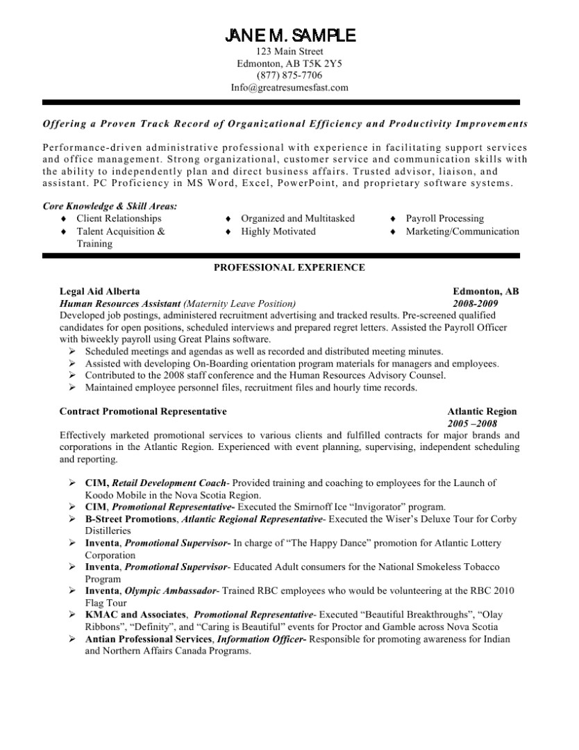 Human Resources Resume Template Human Resources assistant Resume