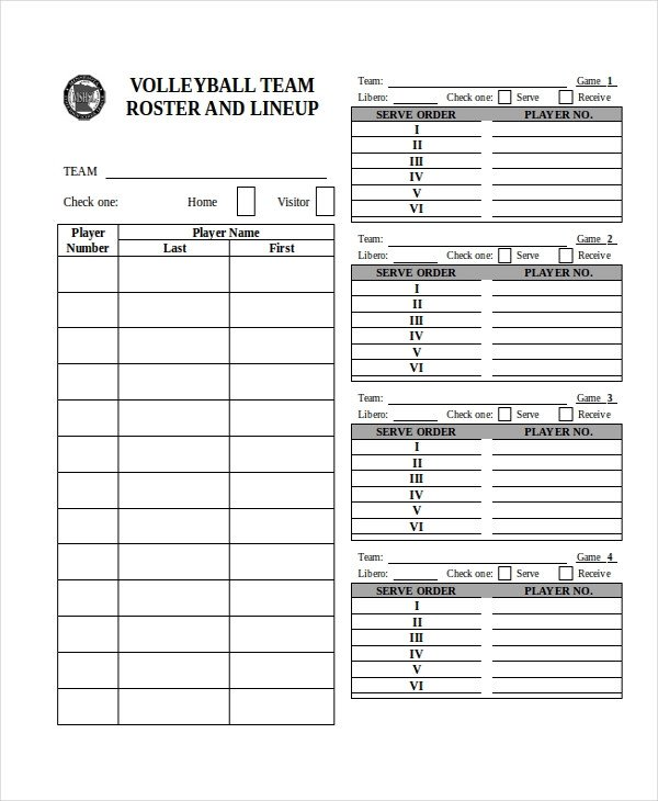 Ihsa Volleyball Lineup Sheet 21 Roster form Templates 0 Freesample Example format