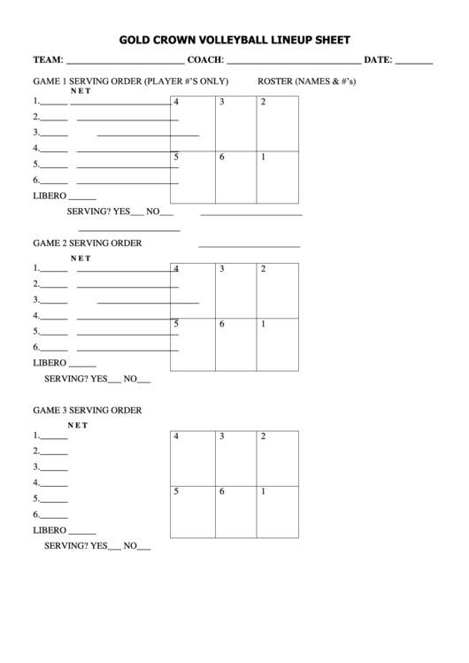 Ihsa Volleyball Lineup Sheet Gold Crown Volleyball Lineup Sheet Printable Pdf