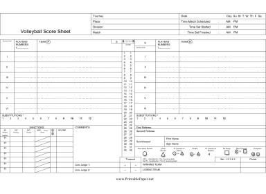 Ihsa Volleyball Lineup Sheet Printable Volleyball Score Sheet