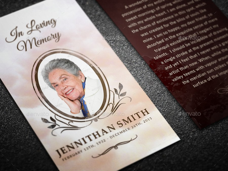 Loving Memory Funeral Prayer Card Template by