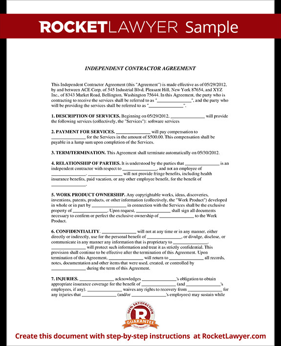Independent Contractor Contract Template Independent Contractor Agreement form Template with Sample