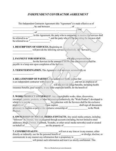 Independent Contractor Contract Template Independent Contractor Agreement