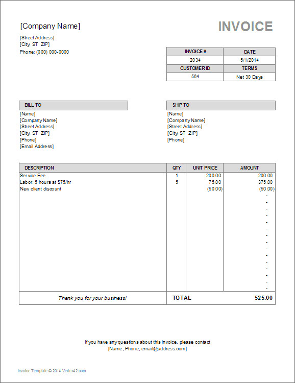 Independent Contractor Invoice Template Independent Contractor Invoice Bonsai