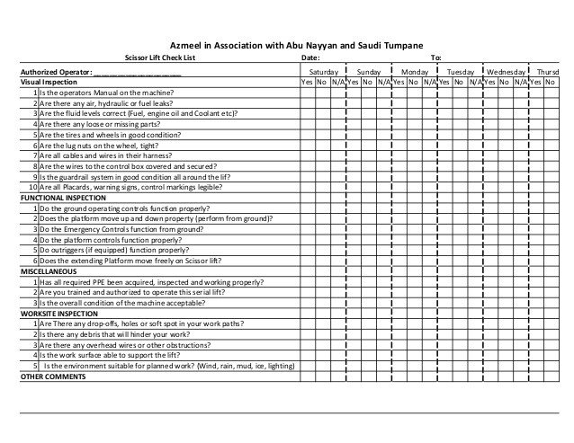 Scissor lift 2 daily inspection log