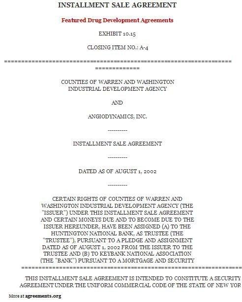 Installment Purchase Agreement Sample Installment