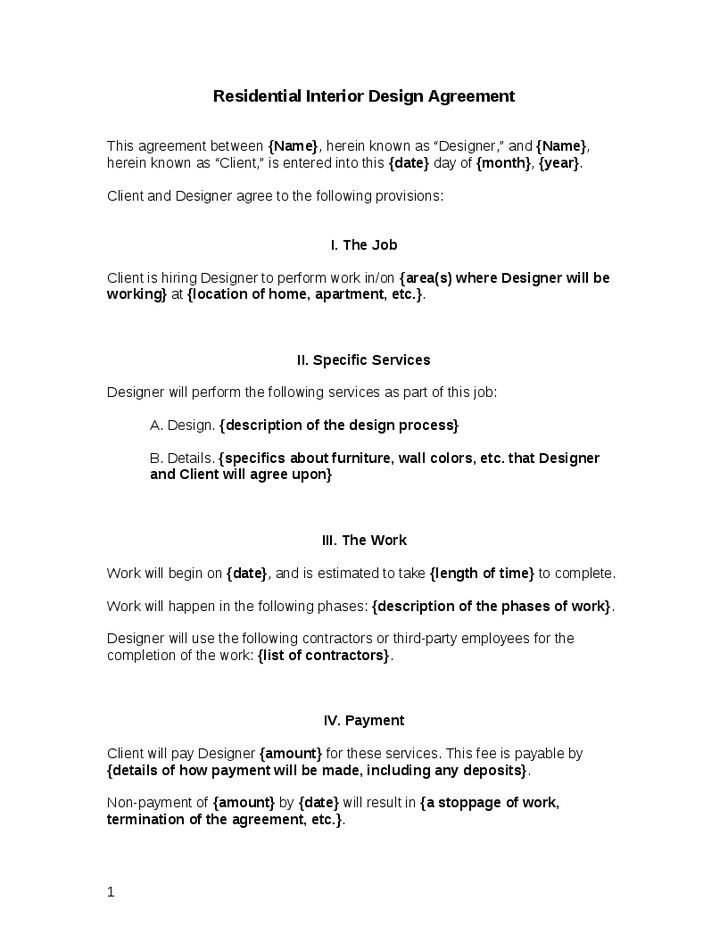 Interior Design Contract Sample 25 Best Contract Agreement Ideas On Pinterest