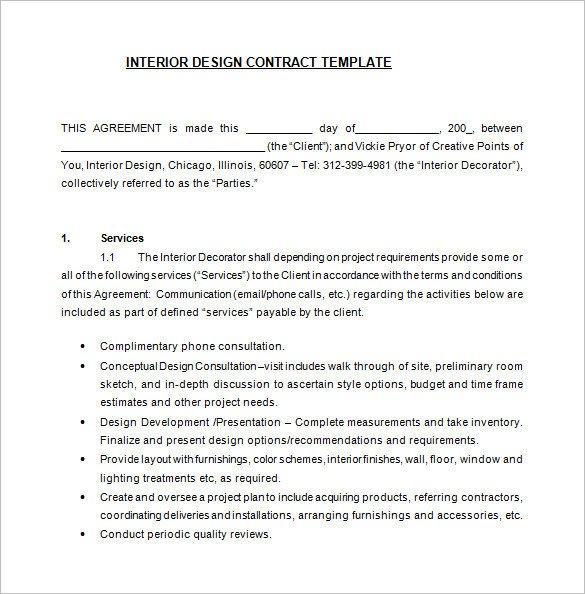 Interior Design Contract Sample 7 Interior Designer Contract Templates Word Pages Pdf