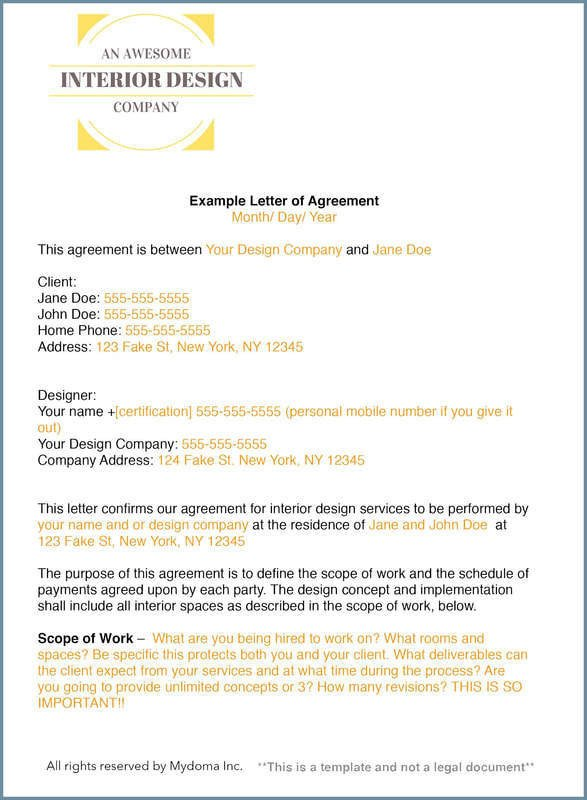 Interior Design Contract Sample How to Write An Interior Design Letter Of Agreement or